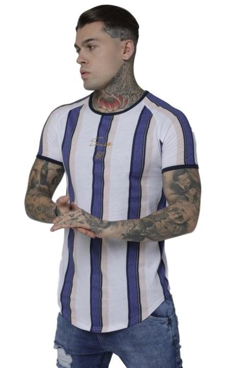 Camiseta SikSilk de Rayas Morado y Blanco