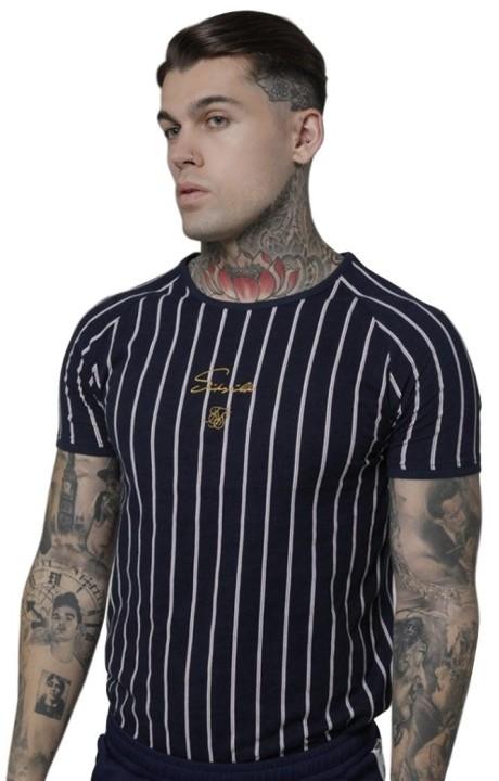 Camiseta SikSilk Raglán Gym Morado/Marino/Blanco