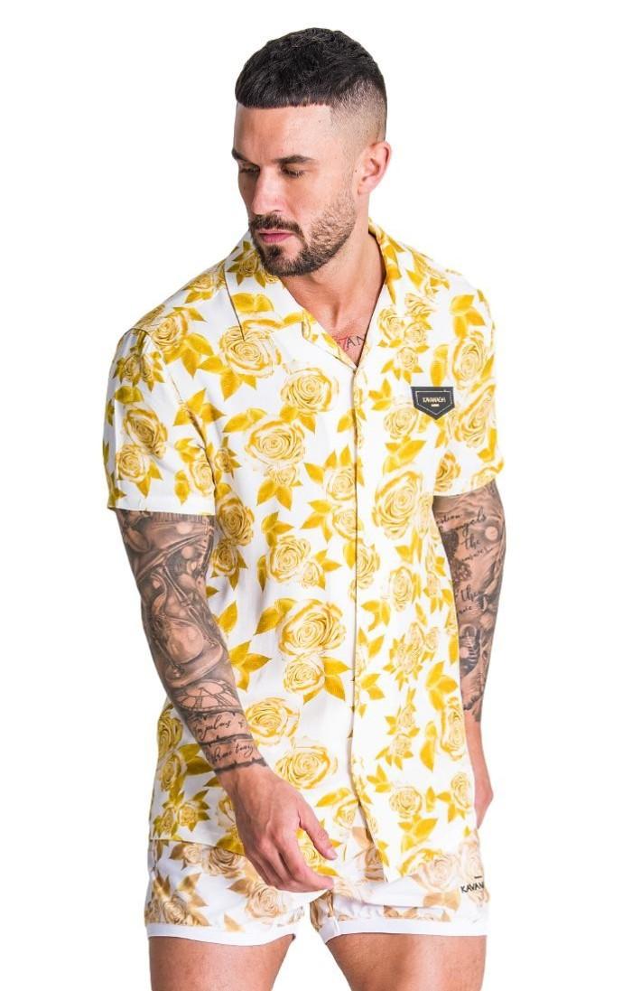 Camisa Gianni Kavanagh Opulencia Hawaiana Blanco/Dorado