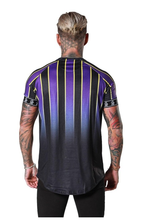 Camiseta SikSilk Ringer Fade Gym Antracita