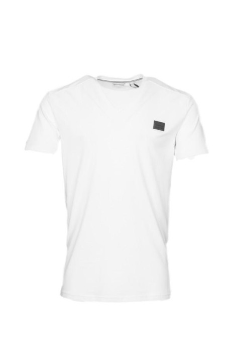 T-shirt Antony Morato Blanc avec le Logo et le col en v