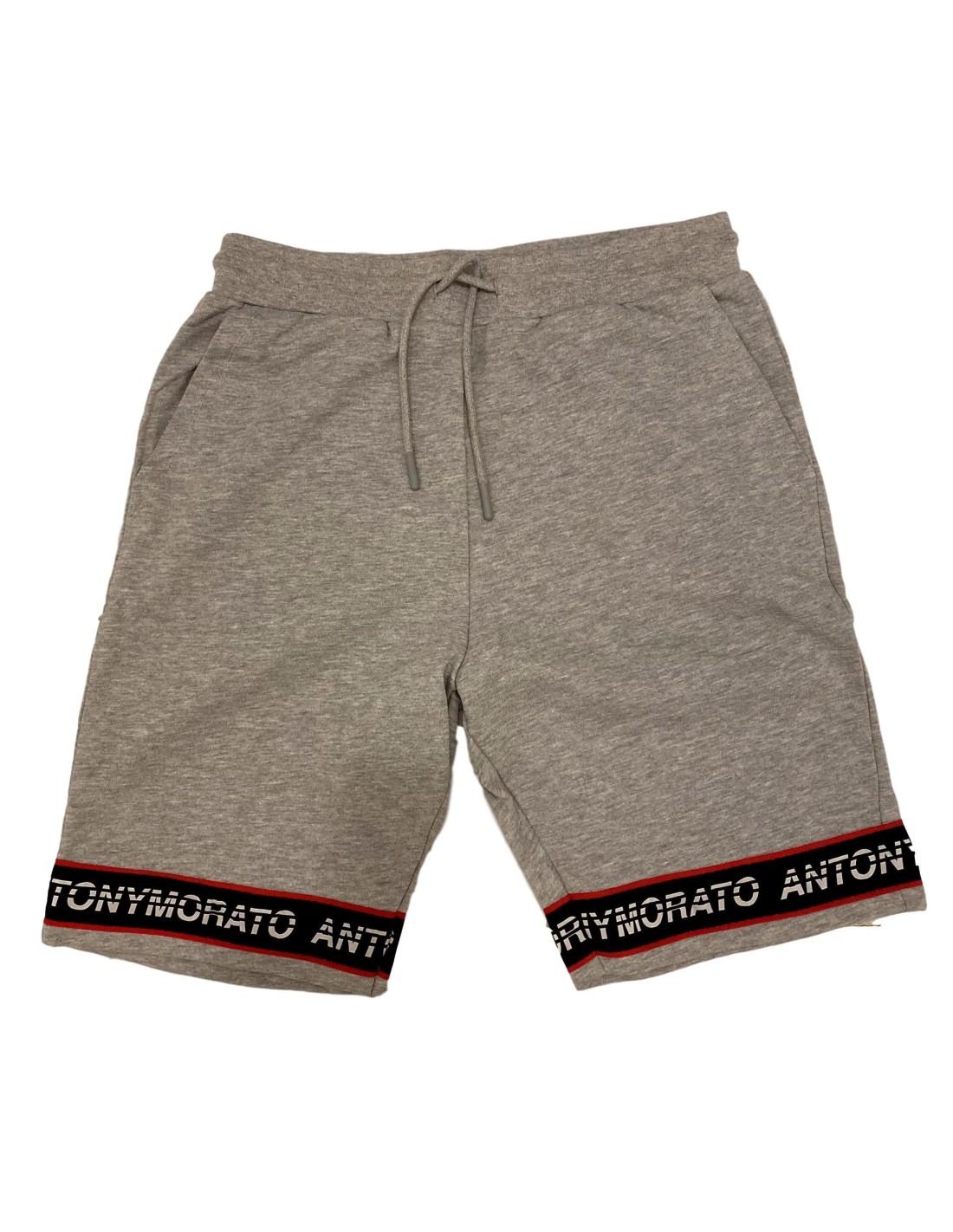 Pantalon Corto Antony Morato Gris Con Elastico Y Logo
