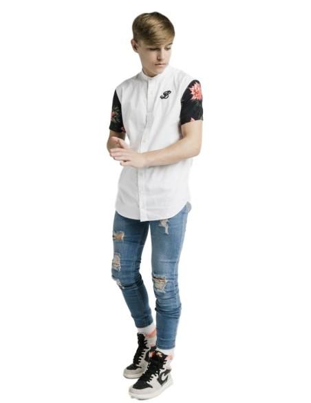 T-Shirt Gianni Kavanagh Raglan Blanc Avec Rose En Relief