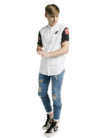 T-Shirt Gianni Kavanagh Raglan White With Embossed Rose