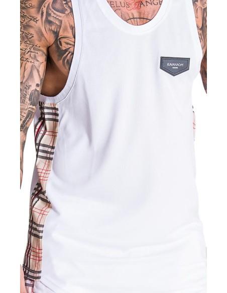 Camiseta de Tirantes Gianni Kavanagh Blanca de Tartan Britanico