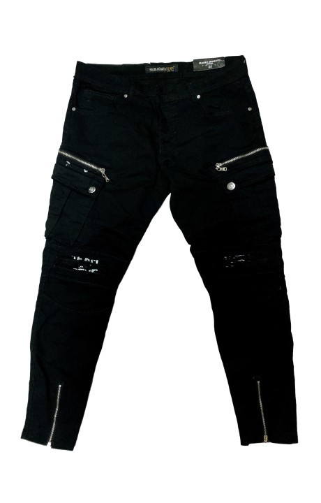 Jeans Mario Morato Tejano Negro con Rotos en Rodillas