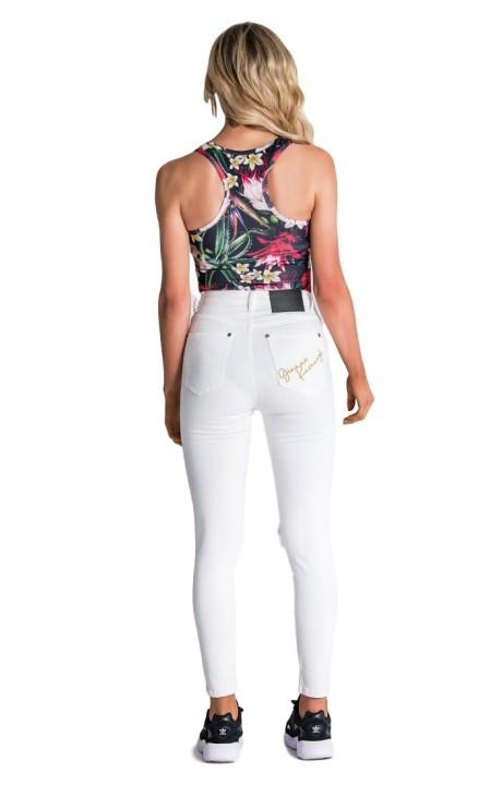 T-shirt Gianni Kavanagh White Asymmetrical sleeve Black