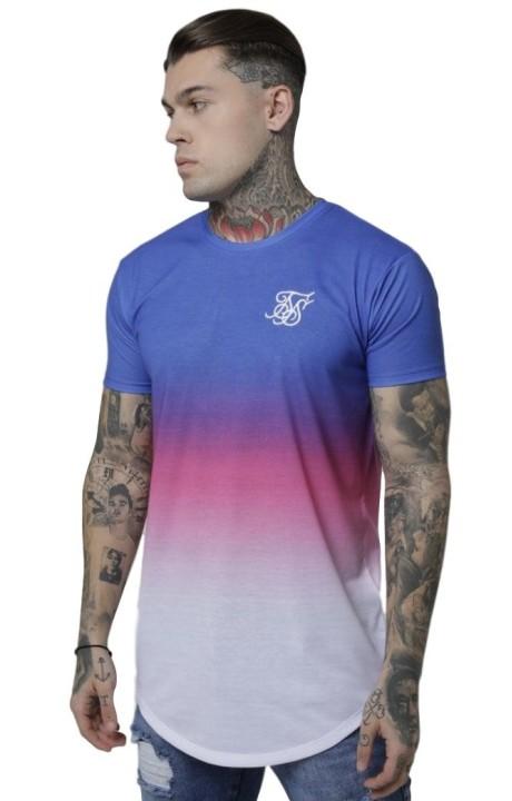 Camiseta SikSilk Curved Hem Fade Tee Azul/Rosa