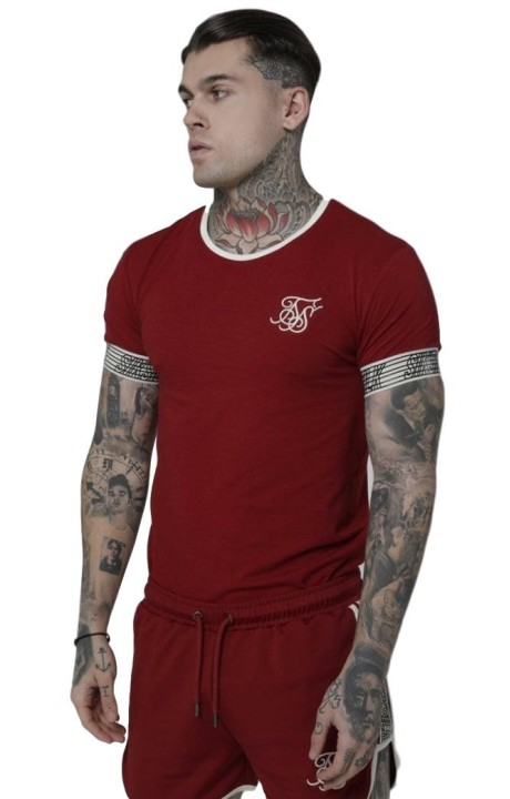 Shirt By SikSilk Runner Cuff Gym Red