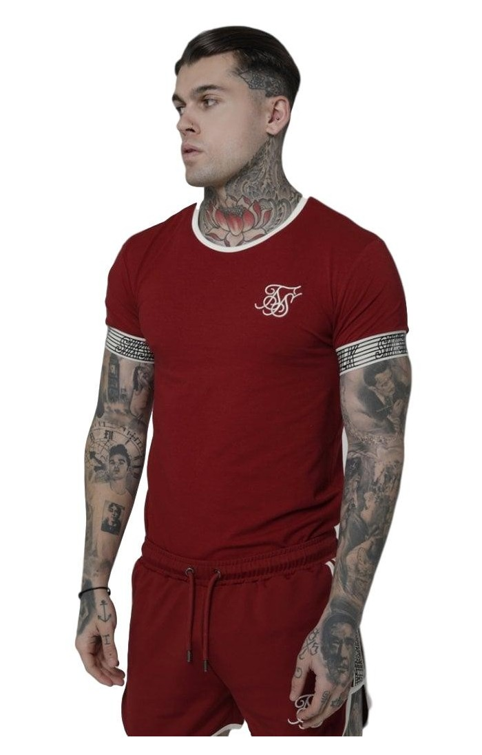 Camiseta SikSilk Runner Cuff Gym Rojo