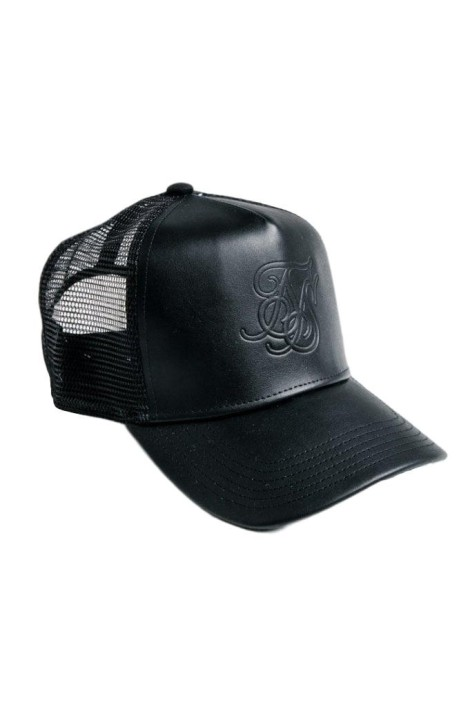 Cap SikSilk Debossed Leather Mesh Black