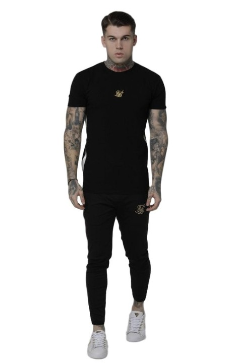 Camiseta SikSilk Side Tape Tee Negro/Oro
