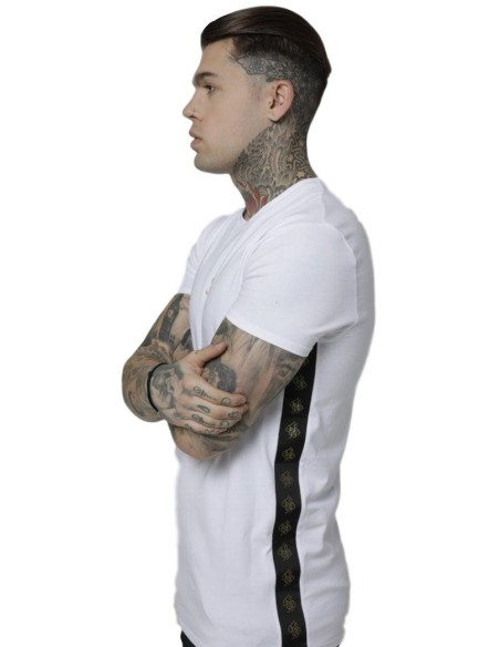 Camiseta SikSilk Side Tape Tee Blanco/Oro