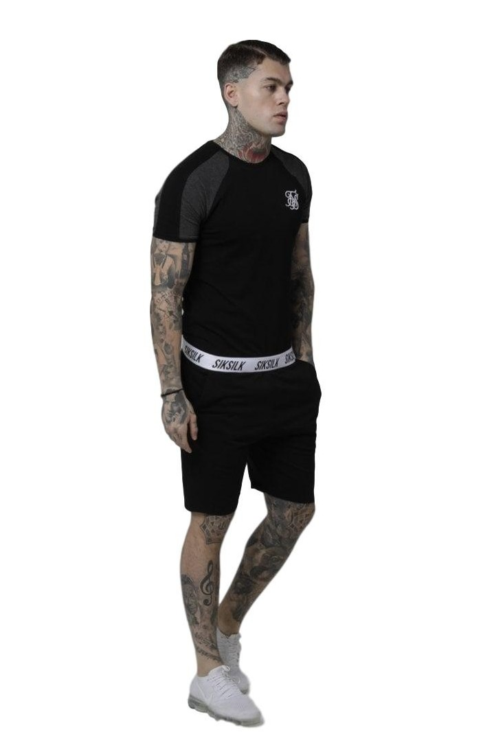Camiseta SikSilk Raglan Contrast Panel Gym Negro
