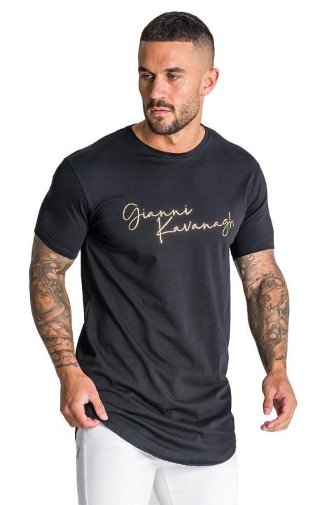 T-shirt Gianni Kavanagh noir avec la signature de GK