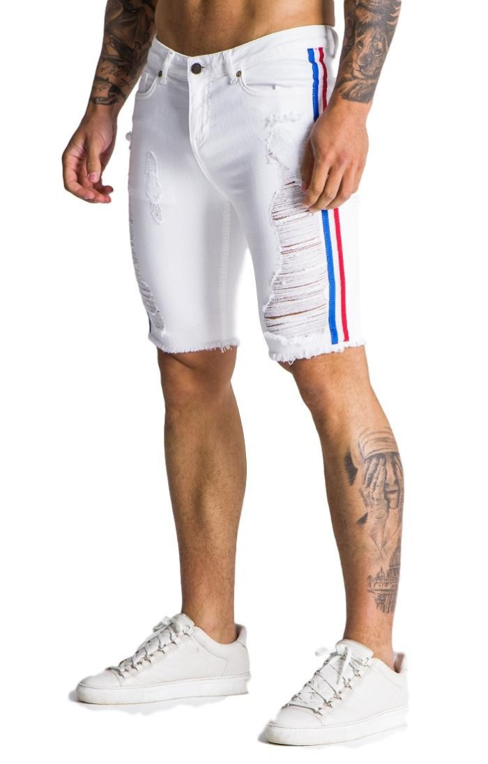 Gianni Kavanagh Jeans Corto Blanco con lineas