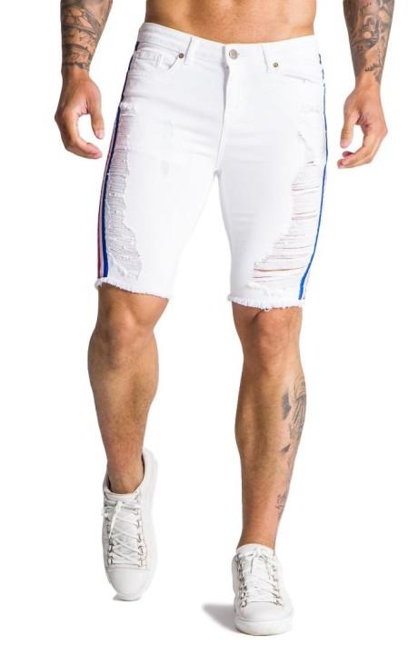 Jeans Corto Gianni Kavanagh blanco con lineas