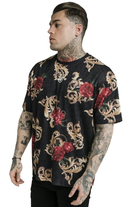 Camiseta SikSilk x Dani Alves Essential Animal Floral Negro