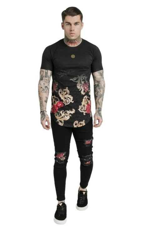 Camiseta SikSilk Curved Hem Dani Alves Negro