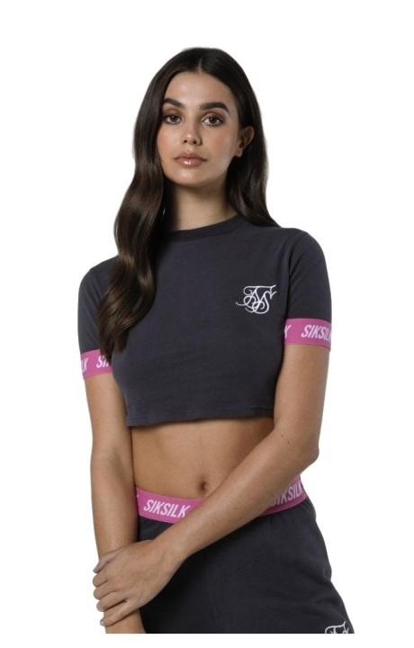 Camiseta SikSilk Elastica Collar Retro Box Fit Gris y Rosa