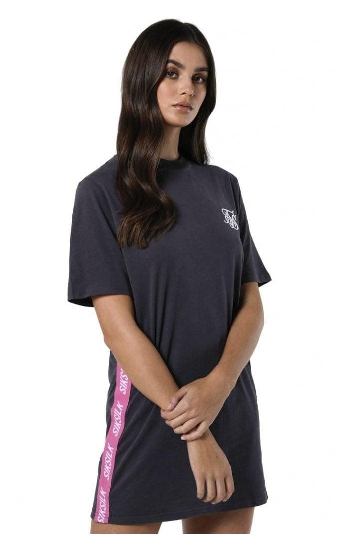 Vestido SikSilk de camiseta lateral Tape Gris y Rosa