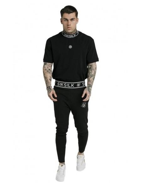 Pantalon Gianni Kavanagh Contrasting Detalle piel vuelta Negro