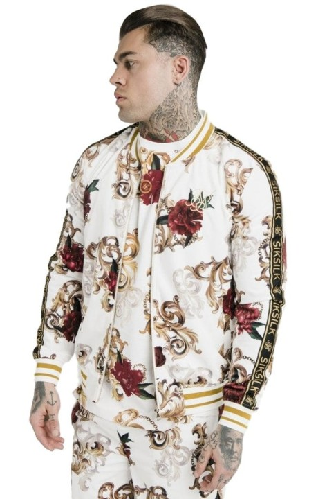 Bomber SikSilk Velour Dani Alves White Floral