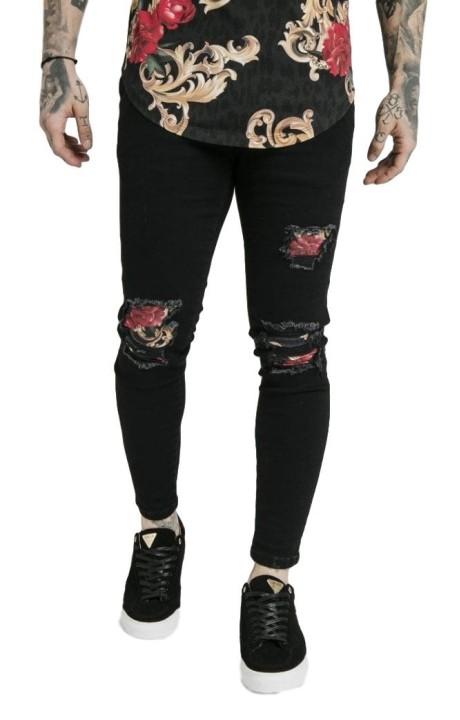 Jeans SikSilk Skinny Distressed Floral Dani Alves Black