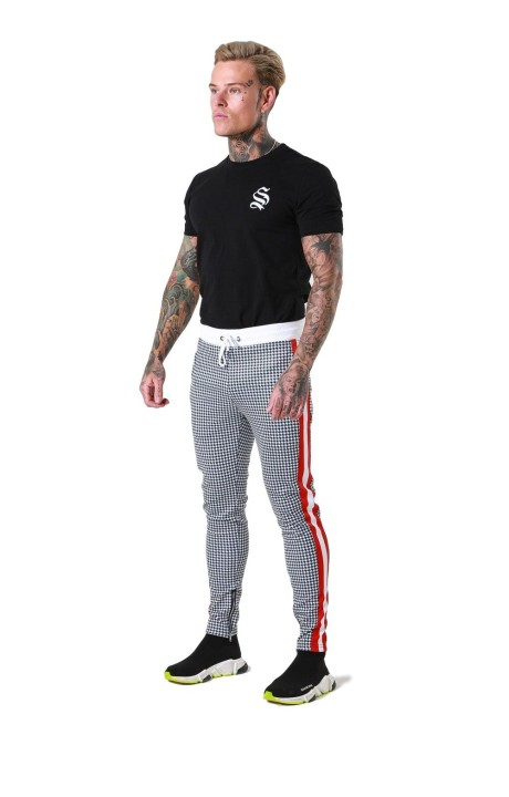 Pantalon Sinners de cuadros y cinta lateral roja