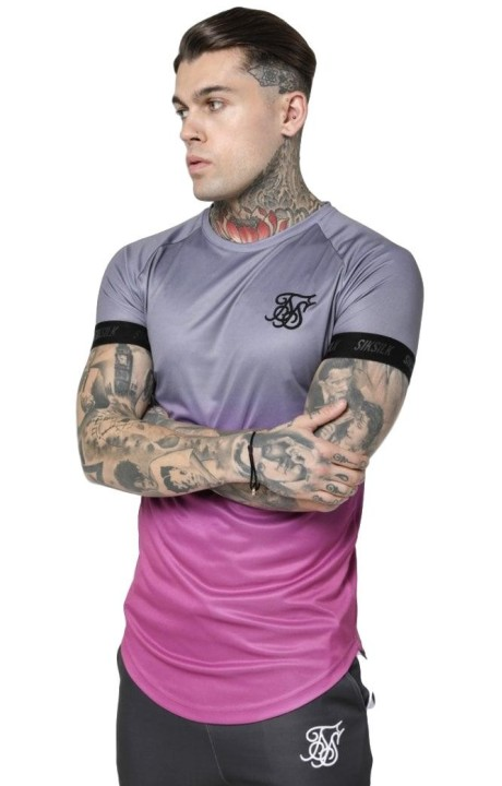 Camiseta SikSilk Fade Out Tech Gris y Rosa