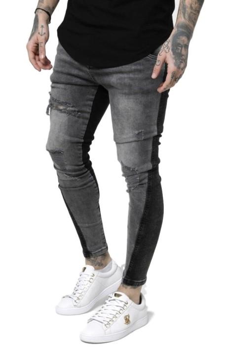 Jeans SikSilk Twisted Hem lavado Negro y Gris