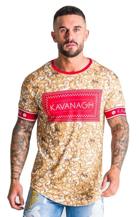 T-shirt Gianni Kavanagh Baroque black with red print