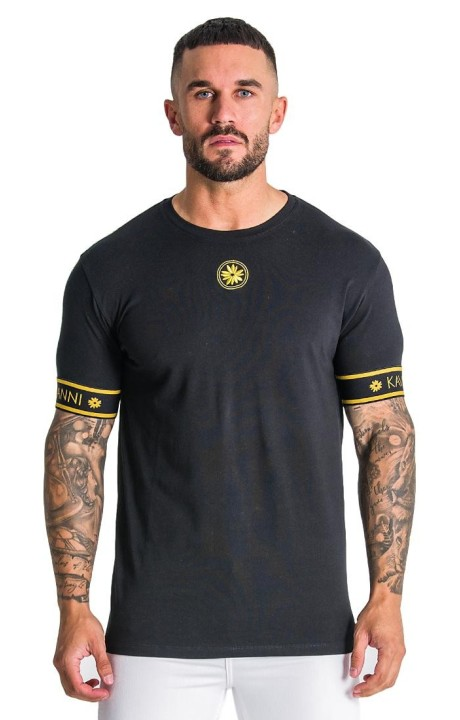 T-shirt Gianni Kavanagh Black with Circle gold in the chest
