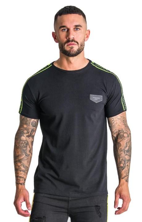 T-shirt Gianni Kavanagh noir avec bande jaune néon