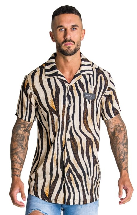Camisa Gianni Kavanagh Ethnic Colletion beige y negra