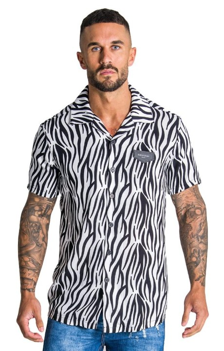 Camisa Gianni Kavanagh Ethnic Colletion blanca y negra
