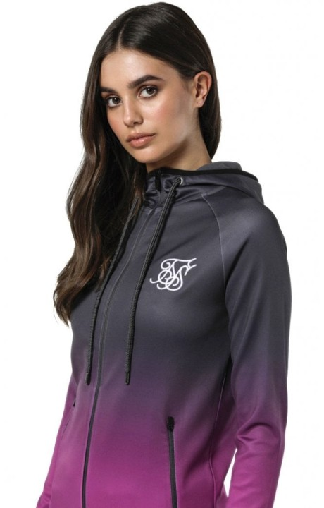 Sudadera SikSilk Athlete Zip Through Gris y Rosa