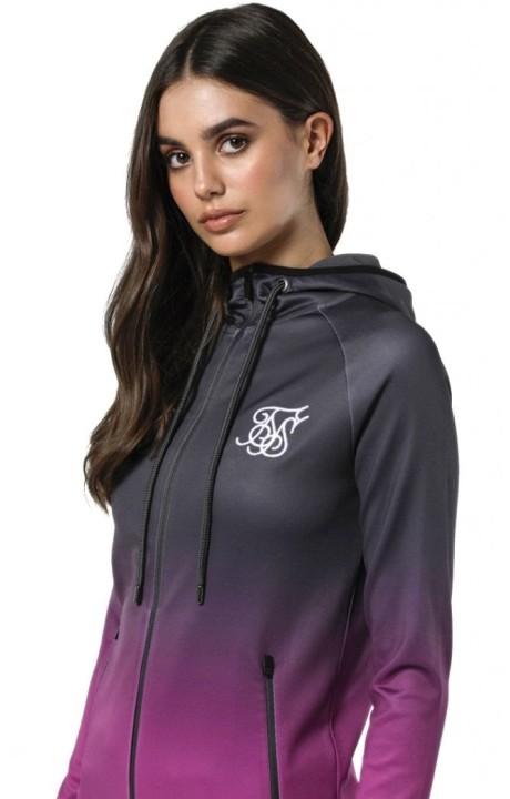 Sweatshirt SikSilk Athlete Zip Through Grey and Pink