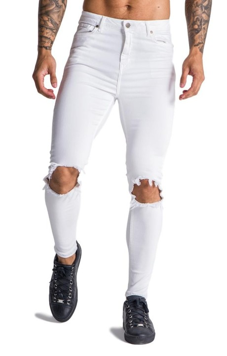 Jeans Gianni Kavanagh white with logo in circle