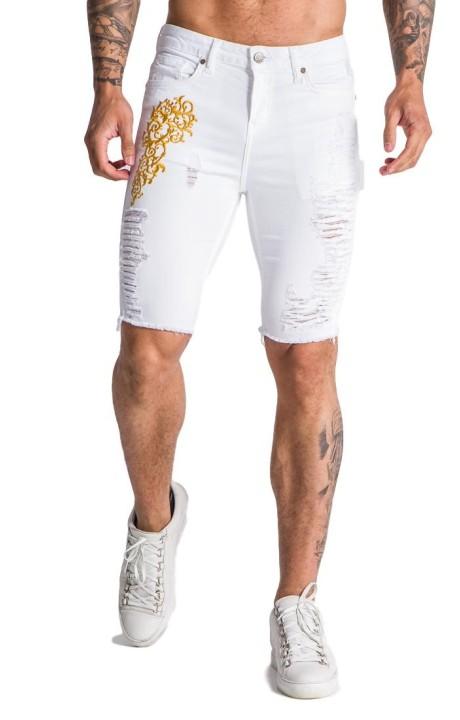 Jeans Shorts Gianni Kavanagh blanc avec un excès Baroque