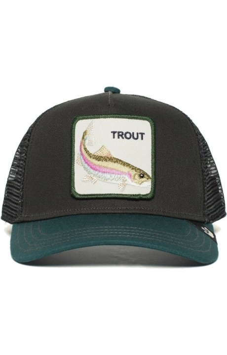 Cap, Truker Goorin Bros Black And Green Trout