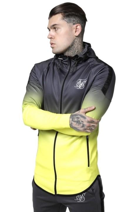 Sweatshirt SikSilk Raglan Athlete Fade Grey and Neon Yellow