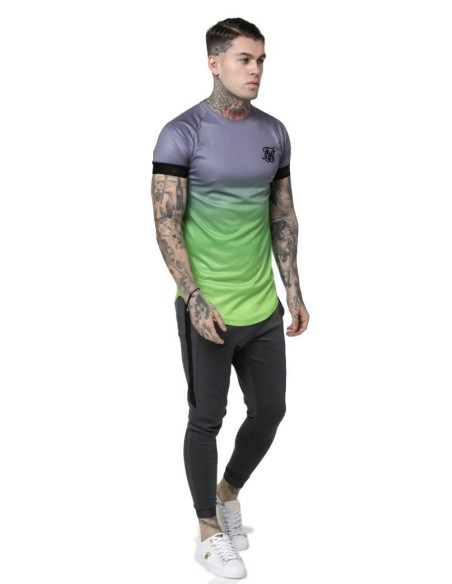 Shirt By SikSilk Raglan Contrast Ringer Gym Green Clear
