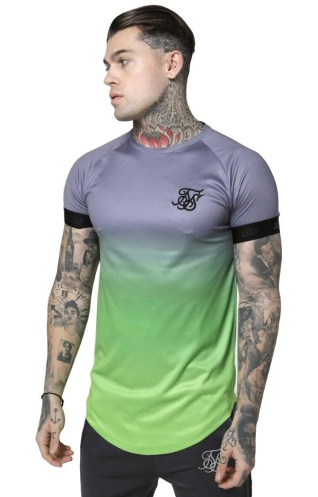 Camiseta SikSilk Fade Out Tech Gris y Verde Neón