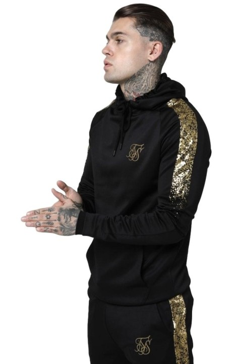 Sweatshirt with hood SikSilk Foil Fade Overhead Black and Gold