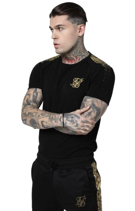 Camiseta SikSilk S/S Foil Fade Gym Negro y Oro