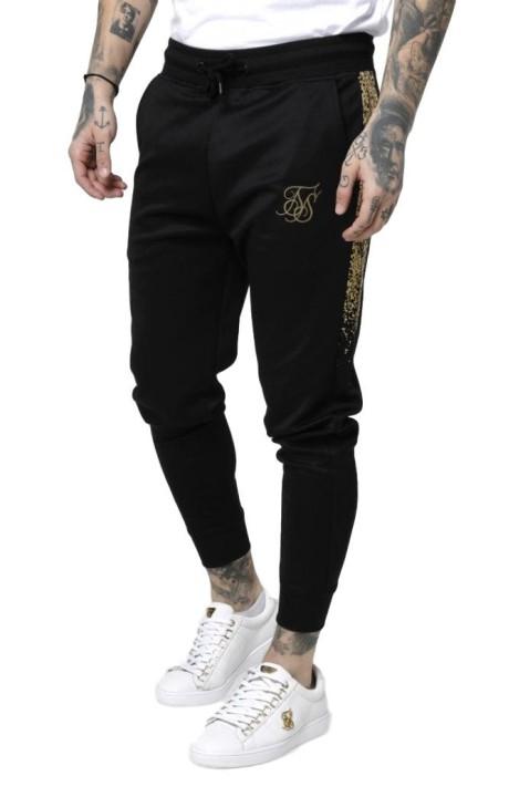 Pantalon SikSilk Cuffed Cropped Foil Fade Panel Negro y Oro