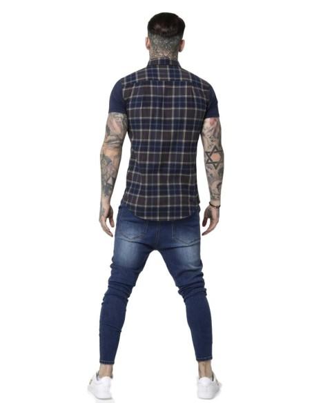 Camisa SikSilk S/S Flannel Standard Azul, Gris y Beige