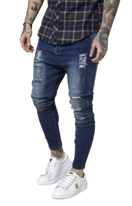 Jeans SikSilk Drop Crotch Patch Bleu Marine