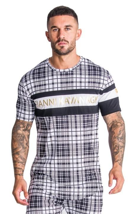 T-shirt Gianni Kavanagh tartan web et or blanc